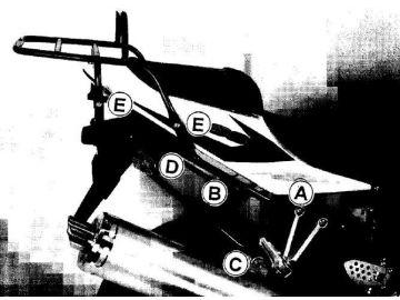 Parrilla trasera porta equipaje en negro para Suzuki GSX-R 600/750 `04