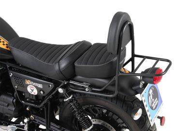 Respaldo con soporte trasero-negro para Moto Guzzi V9 Roamer de 2017 modelo con asiento largo